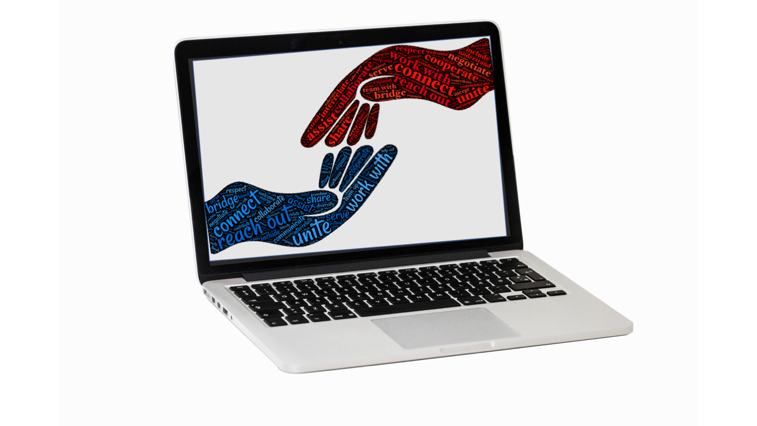 two hands reaching towards each other on a computer screen