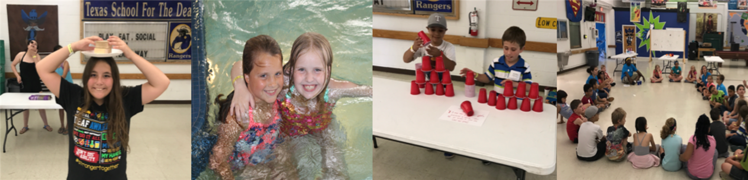 Different photos of a young girl, two young girls in a pool, two boys playing, and group of students in a circle at a Family Weekend Retreat