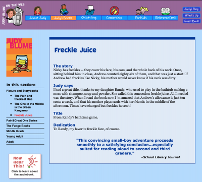 Screenshot of Judy Blume website showing Freckle Juice as the main content with the Freckly Juice synopsis and author comment