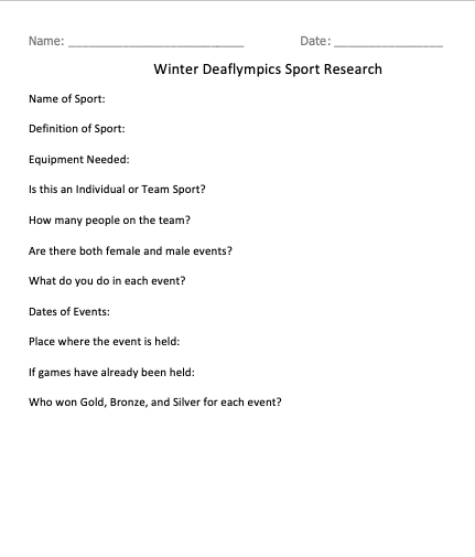 Sports research worksheet