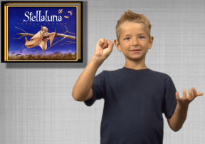 Stellaluna Book cover with boy signing
