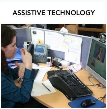 Assistive Technology - A Caucasian woman signing via videophone on a computer screen. Text: More information about how assistive technology can provide deaf or hard of hearing access.