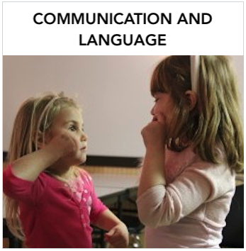 Communication & Language - Two young Caucasian girls signing to each other. Text: The information in this section is provided to answer questions related to the general topic of