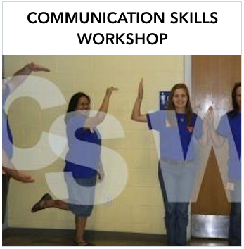 Communication Skills Workshop - Participants gesturing the letters C S W with a white letter over. Text: Sign language training for interpreters, ASL and Deaf Education teachers and parents during summer.