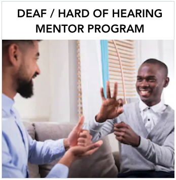 Deaf/Hard of Hearing Mentor Program: Two dark skinned men talking in sign language. Text: A free program for families with deaf and hard of hearing children birth to 5 years old supporting their language development.