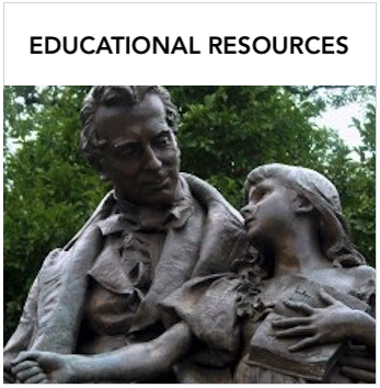 Educational Resources - Statue of Laurent Clerc and Alice Cogswell. Text: Variety of educational resources and programs for deaf and hard of hearing children and their families.
