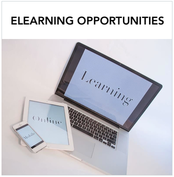 eLearning Opportunities - Laptop, ipad and iphone that says Learning. Text: Deaf Education elearning opportunities from a variety of resources.including Setting Language in Motion and TxDHH Learning Bites.