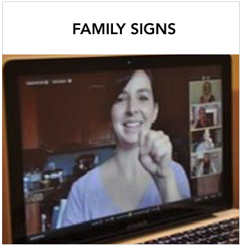 Family Signs - A Caucasian woman signing in video on laptop with other people in smaller video screens. Text: Free online American Sign Language (ASL) and Signing Exact English (SEE) classes for families with deaf and hard of hearing children.