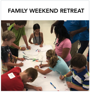 Family Weekend Retreat - Children drawing on a large white paper. Text: A special weekend in Austin for families with deaf and hard of hearing children.