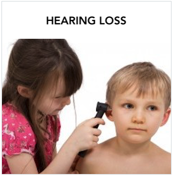 Hearing Loss - Young Caucasian girl using otoscope checking a young Caucasian boy's ear. Text: Resources to help you learn more about hearing loss.