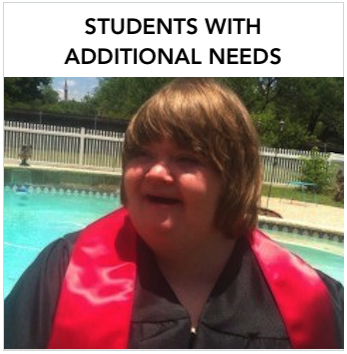 A young Caucasian woman with graduation gown front of a pool. Text: Resources for staff working with students. who are deaf with additional needs.