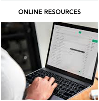 Online Resources - Laptop screen with a person's hand typing. Text: A variety of information for Deaf Education professionals, including administrators, interpreters, parent advisors, and more.