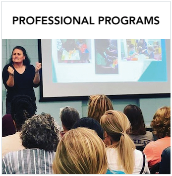 Professional Programs - A woman providing workshop in sign language, with powerpoint projected in background. Text: Learn more about other professional programs.