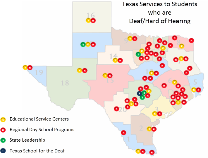 Texas DHH services map