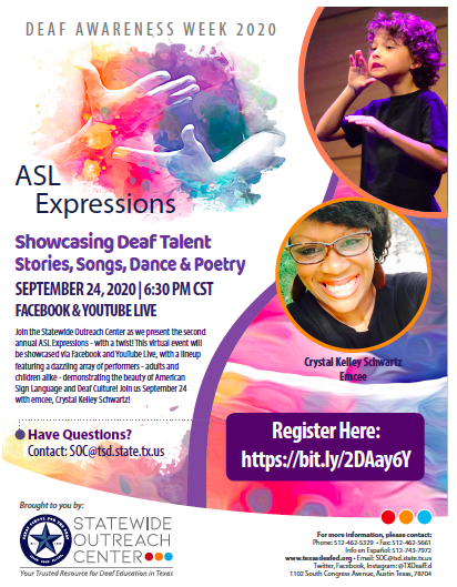 ASL Expressions 2020: Join the Statewide Outreach Center's second annual ASL Expressions emcee, Crystal Kelley Schwartz on September 24th.