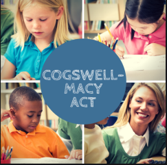 Cogswell-Macy Act - image of three young kids and an adult.