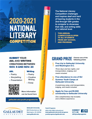 Gallaudet University 2020-2021 National Literacy Competition Flyer