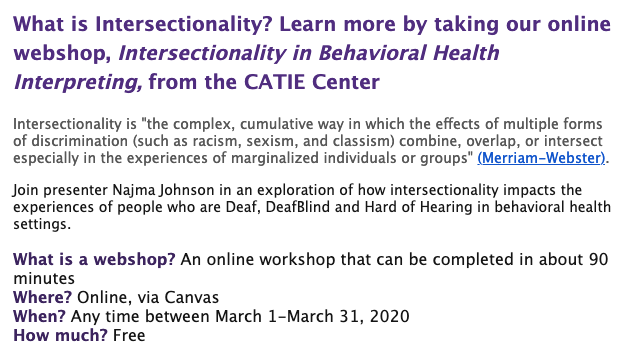 Free Intersectionality in Behavioral Health Interpreting Webshop Online
