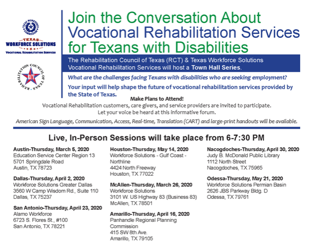Texas Workforce Solutions/VR Town Hall Meeting Dates!