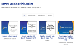 TCEA Remote Learning - four images of mini-sessions